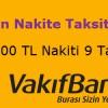 Vakıfbank Worldcard'ta Nakit Avansa 9 Taksit Fırsatı