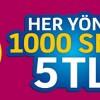 Turkcell'de Her Yöne 1.000 SMS 5 TL