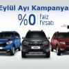 Dacia'dan Eylül Ayına Özel Sıfır Faizli Kredi Kampanyası