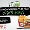 Bonus Kart ile Burger King'ten Ne Yersen Yüzde 50'si Kadar Bonus Hediye