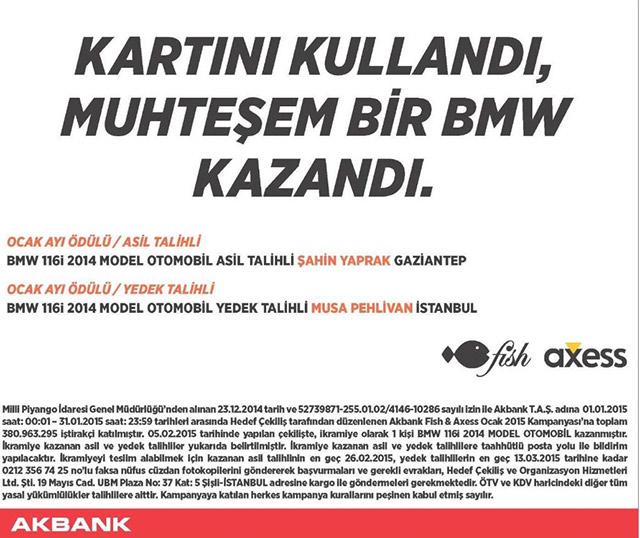 Axess BMW Ocak Ayı Sonuçları