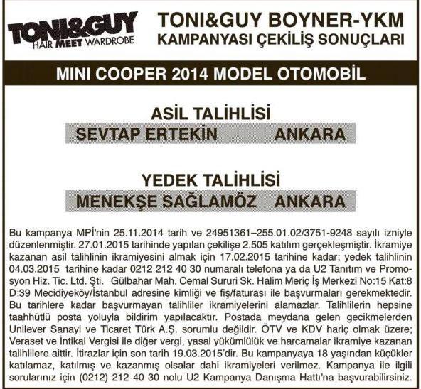 Boyner YKM Mini Cooper Sonuçları