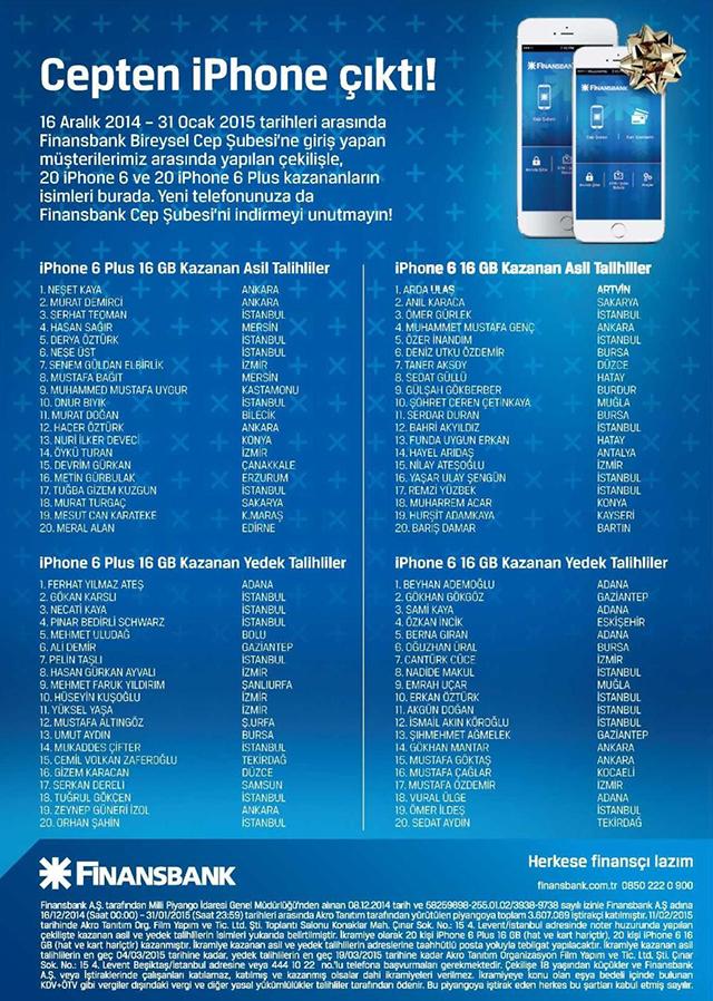 Finansbank iPhone 6 Kampanyası Çekiliş Sonuçları