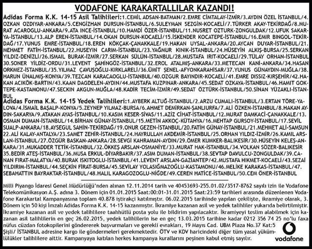 Vodafone Karakartal çekiliş Sonuçları