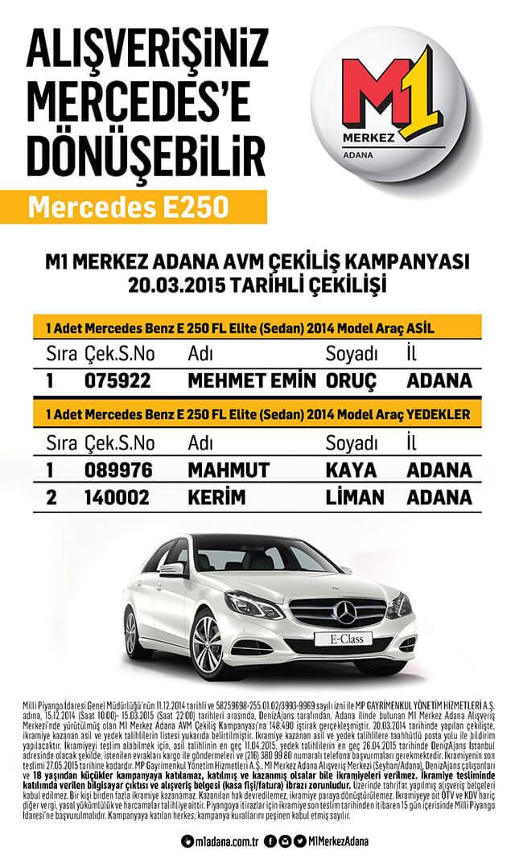 M1 Merkez Adana AVM Mercedes çekiliş sonuçları
