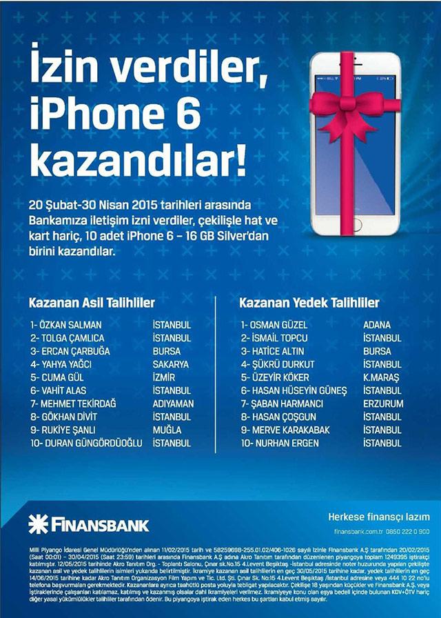 FinansBank iPhone 6 çekiliş sonuçları