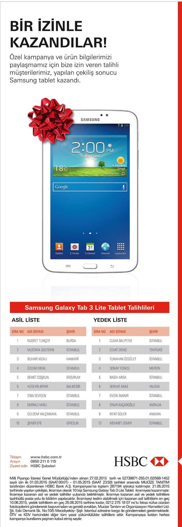 HSBC Iletisim Izni Samsung Galaxy Tab 3 Cekilisinin Sonuclari