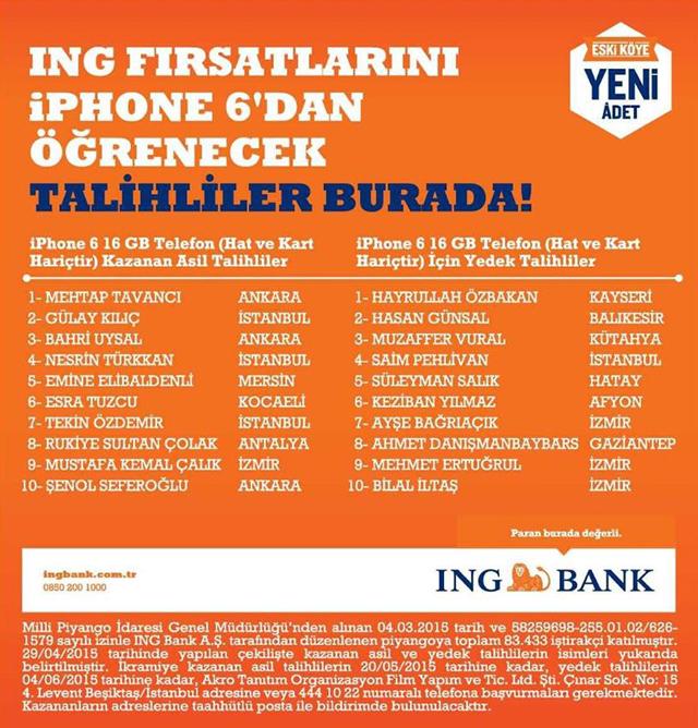 ING Bank iPhone 6 çekiliş kampanyası sonuçları