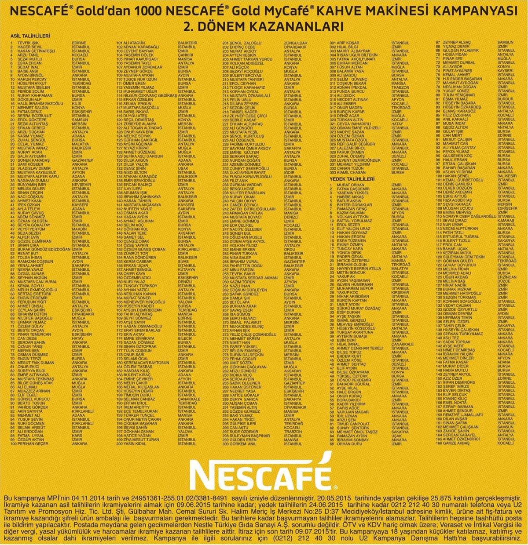 Nescafe My Cafe kahve makinesi 2. dönem çekiliş sonuçları