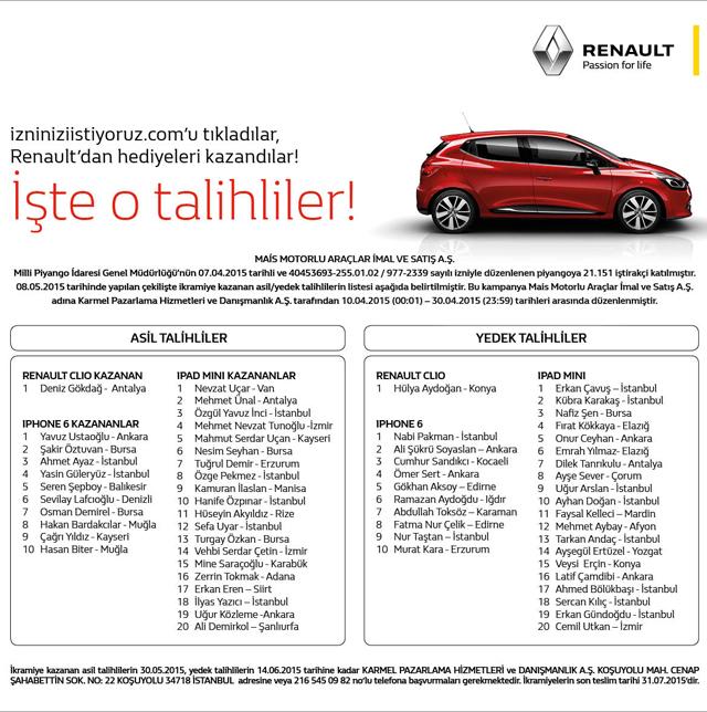 Renault iletişim izni Renault Clio çekiliş sonuçları