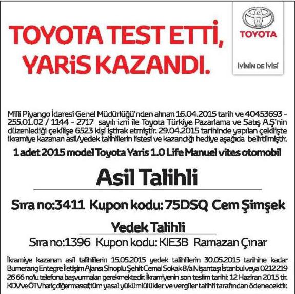 Toyota test sürüşü Toyota Yaris çekiliş sonuçları