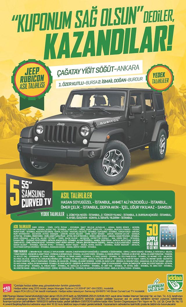 İddaa Jeep Wrangler çekiliş sonuçları