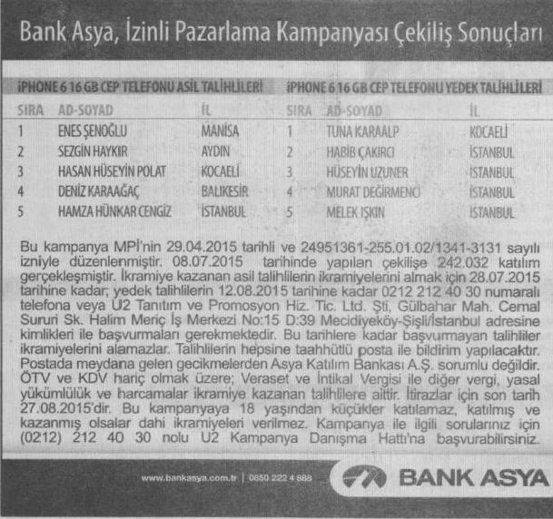 bank asya ıphone çekilişi sonuçları