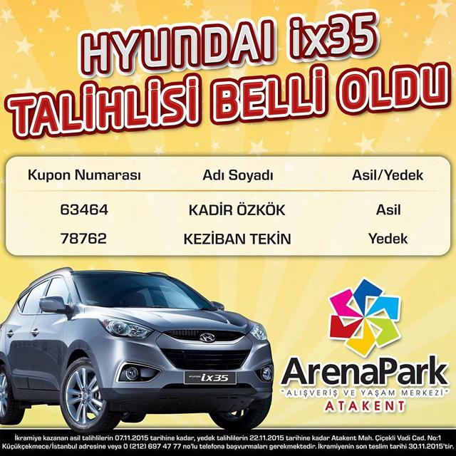 arenapark Hyundai ix35 çekilişi