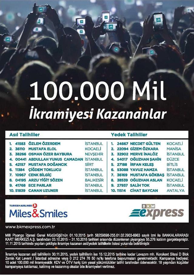 bkm ekspress 100.000 mil kampanyası