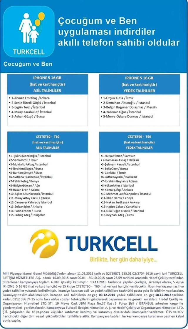 turkcel çekiliş sonuçları